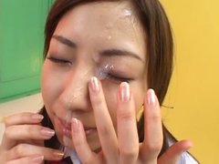 cute japanese schoolgirl facial