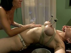 Dark haired milf Annika with biggest tits gets bound up and tortured by two heartless women Gia Dimarco and Asphyxia Noir. They use strapon to fuck her ass.