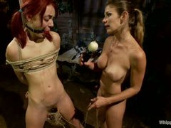 Naked pigtailed redhead Zoe Voss gets tied up and fucked hard by big titted lesbian domina Felony. Crazy domina fucks submissive Zoe Voss in the ass.