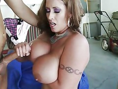 Eva Notty gets her tits splashed with warm dong juice