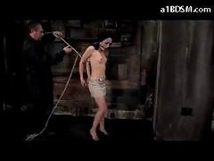 Girl With Moutgag On High Heels Getting Bound Up And Hanged Nipples Tortured With Movies In The Dungeon