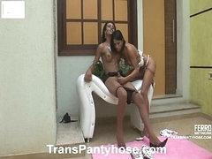 Luana&Claudio shemale pantyhose act