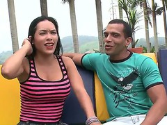 Young beauty Celeste is being tempted on camera by her boyfriend outside in public