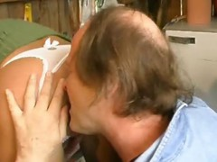 Cute blonde gets licked by older guy, blows him and gets booty fucked