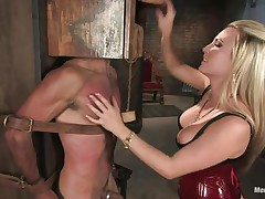 bossy golden-haired milf dominating her guy