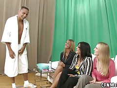 3 fully dressed milfs shaving a undressed man