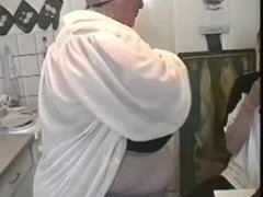 Aged woman with huge tits!
