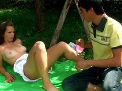 Outdoors ramrod-engulfing legal age teenager scene