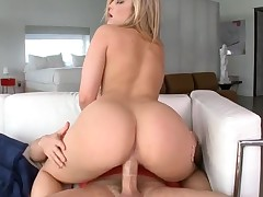 Beauties with great booties engulf cocks and bound on 'em so fast