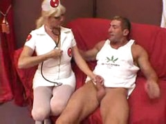 Nurse helps the muscular man get laid