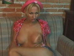 Solo golden-haired tranny tease and stroke