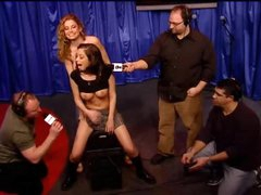 Schoolgirl honey rides Sybian on Howard Stern show