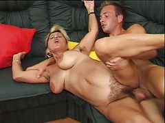 German hairy aged is horny this babe fucks and squirt