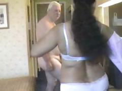 Chunky playgirl from India grinding on white old man's meaty cock