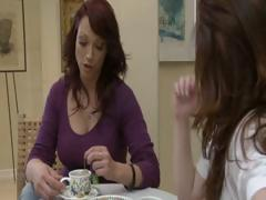 Two horny brunette hair MILF's have tea party and take up with the tongue each others snatch
