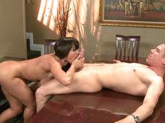 Big Tittied MILF Lisa Ann Fucked During Dinner