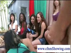 Cfnm girls jerking off chap in a swing while he eats pussy