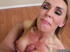 Blistering Tanya Tate gets splattered in pecker milk