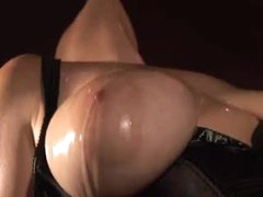 Dungeon floozy in black corset has fun sex